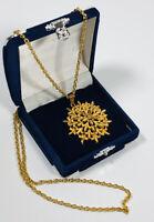 Vintage Sphinx Necklace Gold Tone Chain & Flower Pendant Elegant Pretty Costume