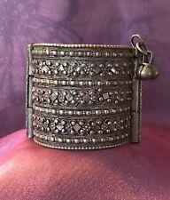 Antique Yemenite Jewish Bowsani Silver Arabesque Filigree Bracelet (1900's)