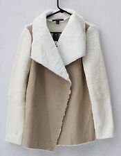 WOMENS FEVER CASCADE COLLAR FAUX SUEDE & SHERPA KNIT JACKET, SIZE L