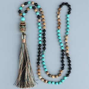 Mala Beads 108 Necklace Turquoise Onyx Meditation Prayer Rosary Chakra Reiki UK