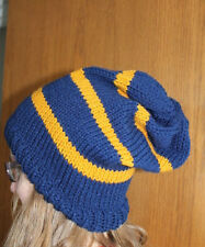 Harry Potter Hat Ravenclaw Book Colors-Blue/Gold  Hand Knit Ravenclaw Slouch Hat