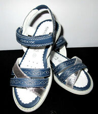 GEOX Shoes Respira Sandals JS. Milk F Geobuck Navy/Silver Size 10 1/2