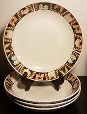 "Sakura CHRISTMAS PATCH Coupe Soup bowl set of 4, 7 1/2"", Leslie Beck, 1999, EUC"