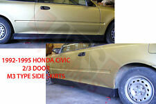 1992 1995 Honda Civic COUPE / HATCHBACK  M3 Style SIDE SKIRT Plastic Unpainted