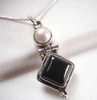 Cultured Pearl and Black Onyx 925 Sterling Silver Necklace Corona Sun Jewelry