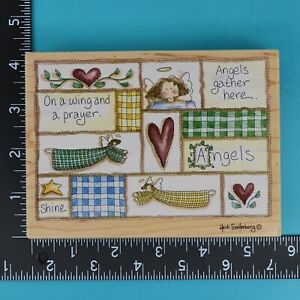 Stamps Happen Angels Gather Here 90139 Folk Art Wood Mounted Rubber Stamp