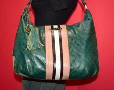 L.A.M.B. Green Leather Hobo Slouch LARGE Stripe Tote Carryall Shoulder Purse Bag
