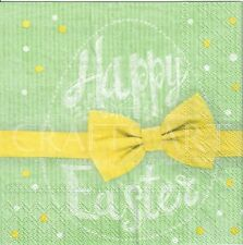 4single paper decoupage napkins. Happy Easter egg, bow, gift, dots,green- E30