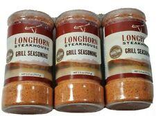 3 -PACK Longhorn Steakhouse Grill Seasoning 2.5 Oz Bottles New Free Shipping