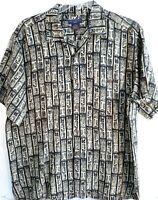 Gordon Clothing Co. Mens Hawaiian Shirt, Size Large, Tiki Pattern, Linen/Rayon