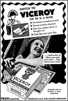 1940 Woman relaxing swing Viceroy filter cigarettes vintage photo print ad ads77