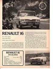 1968 RENAULT 16  ~  ORIGINAL 4-PAGE ROAD TEST / ARTICLE / AD