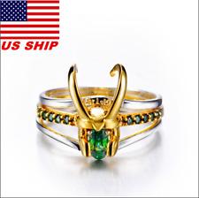 US!Superhero Loki Helmet Pack of 3 Stacking Unisex 925 Silver Gold-plating Rings