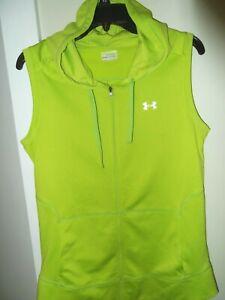 LN Women's Under Armour Fluorescent Green Sleeveless Zip Up Hoodie Size M