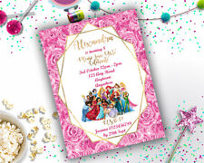 Personalised Disney Characters Princess Birthday Party Invitation A6 Girls + Env