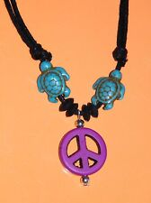 "TURTLE Necklace HONU TORTOISES & PURPLE PEACE SIGN Choker 16""- 28"" Adjusts NEW!"