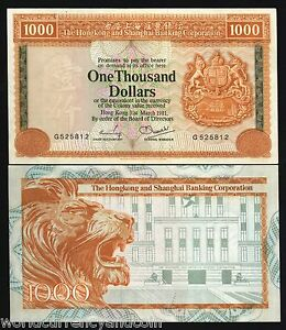 HONG KONG 1000 DOLLARS P-190 1981 LION HSBC LARGE RARE UNC CHINA 1 Pin Hole NOTE