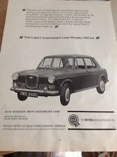 Q1-d Ephemera 1966 Advert The Wolseley 1100 Dwd 565c B M C