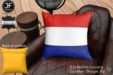 """NETHERLAND FLAG COLOUR LEATHER 1X EXCLUSIVE LUXURY CUSHION 18""""x18"""" YELLOW BACK"""