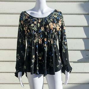 Free People Dahila Floral Long Sleeve Top Blouse Black Size Small OB564707