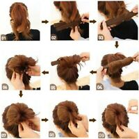 2X Damen Haar Dutt Hilfe Donut Hair Bun Maker Haarstyling Twister Tool Mode Ksy