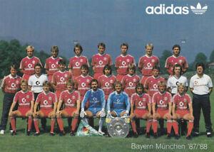 MANNSCHAFTSKARTE FC Bayern München 1987-88 COMMODORE DFB 80er JAHRE   ADIDAS