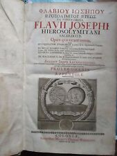 ITTIG : FLAVIUS JOSEPH OPERA, 1691. In folio, velin blanc estampé, grec/latin