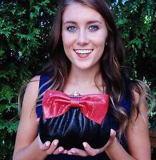 Judith Leiber Karung Clutch Gem BIG RED BOW Shoulder Bag Jade Lizard Snakeskin