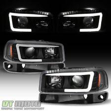 Blk 1999-2006 GMC Sierra Yukon LED Tube Projector Headlights+Bumper Signal Lamps
