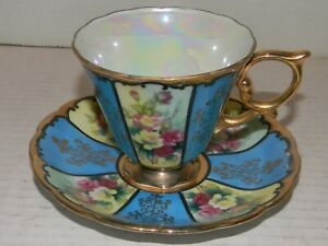 Vintage Antique Royal Sealy China Tea Cup and Saucer Japan Blue Gold Floral