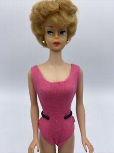 Vintage Restored Honey Blonde Bubblecut Barbie Big Bouffant Ooak Pink Swimsuit