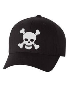 Skull and Crossbones Black Flex Fit Hat, Black Baseball Hat with Skull