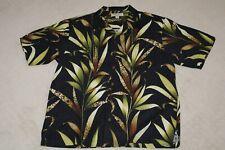 Tommy Bahama Mens Silk Hawaiian Shirt Size Large Black Floral