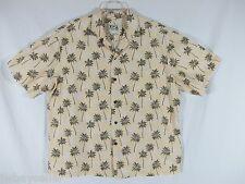 Ky's 100% Cotton Hawaiian Shirt - Pale Yellow w/ Green Coconut Palm Trees XL-XXL