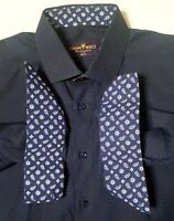Bertigo Button Up Shirt Mens 5/ XL Blue Cotton Paisley  Long Sleeve Flip Cuff