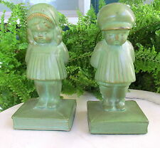NICE 1930'S FRANKART ERA POUTING LITTLE BOY & GIRL METAL BOOKENDS W/ GREEN PAINT