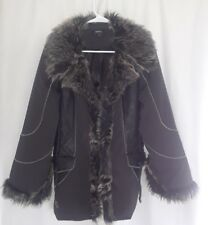 4d78b472ac4f TRIBAL size 6 Black faux LEATHER COAT FAUX FUR collar and cuffs snap front
