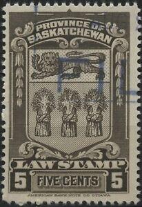 Canada Revenue VanDam #SL45 5c sepia Saskatchewan Law Stamp, used - 1938