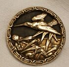 Antique Picture Button  Crane in Marsh  Birds  Highly Detailed 1 3 8