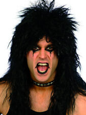 1980's Black Hard Rocker Wig Adult Mens Smiffys Fancy Dress Costume