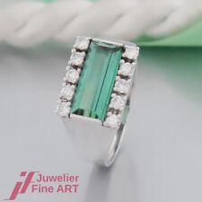 schöner Ring 'mit Turmalin & 10 Brillanten ges. ca. 0,20ct' in 14K/585 Weißgold