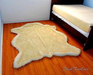 plush fur golden polar bear rug 5 x 7 extreme plush top fur throw area new