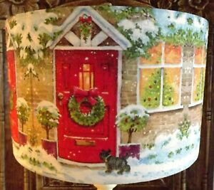 Christmas lampshade,Snowy Cottage, Xmas festive Decoration