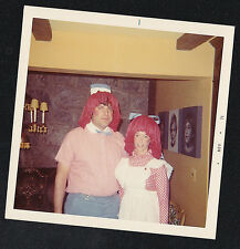 Old Vintage Photograph Man & Woman in Raggedy Ann & Andy Costumes - Halloween