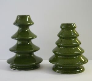Crate Barrel Green Ceramic Christmas Tree Candle Taper Holder Set 2
