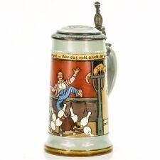 Mettlach #2959 Antique German Etched Beer Stein Lidded Mug - Bowling ca.1897