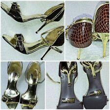 Diva Tacones Zapatos increíble de ADN para mujer BNWTs Marrón Piel De Serpiente Y ORO REINO UNIDO 4.5 US 7