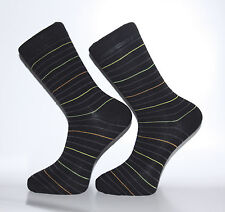 High Quality Black Socks With Thin Green, Orange and Grey Stripes