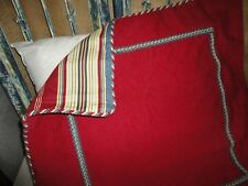 Bay Linens Regent'S Park Blue Red Stripe (1) Euro Pillow Sham 100% Cotton New