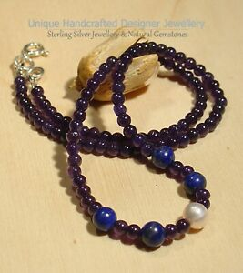Amethyst Lapis 925 Sterling Silver Necklace Handmade Jewellery 1021-5